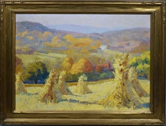 Antique American Impressionist Fall Haystack New England River 1920 Oil Painting
