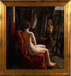 Antique American Impressionist Female Nude Artist Studio Original Oil Painting