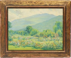 Antique American Impressionist Flower Garden Mountain Landscape Oil Painting