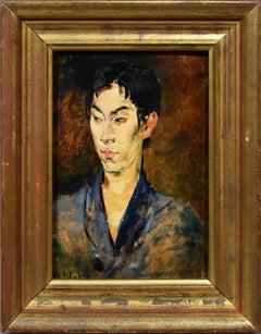Antique American Impressionist in Japan Signed Original Portrait Oil Painting