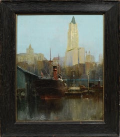 Antique American Impressionist Lower Manhattan Dock Scene Ashcan Oil Painting