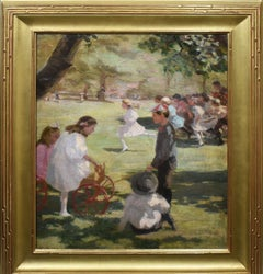 Antique American Impressionist Museum Quality Kids Playing Landscape Painting