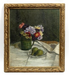 Antique American Impressionist Oil Painting Still Life Pears Flowers Framed Rare