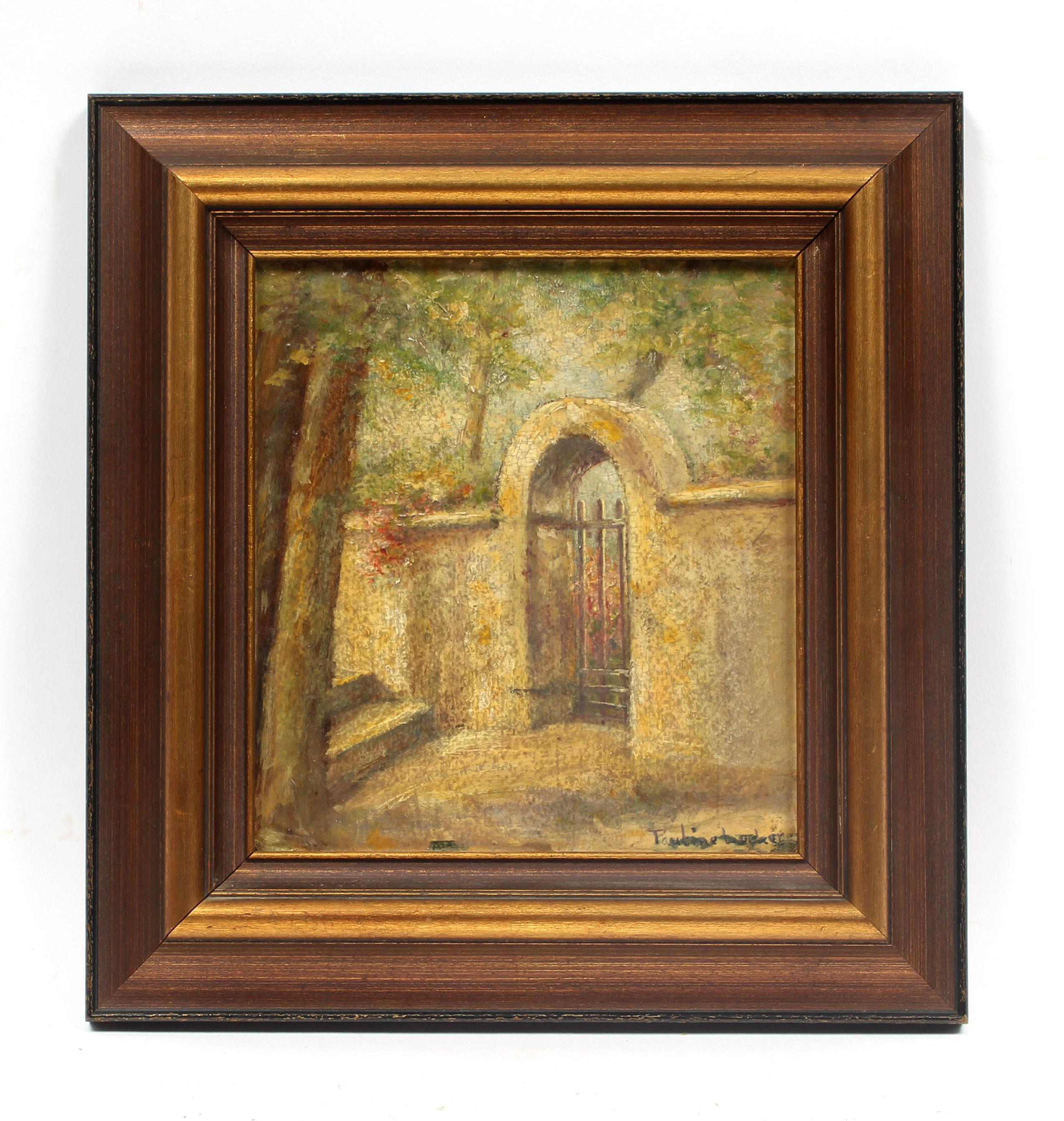 Antique American Impressionist Painting South Dakota 1909 Garden Gate Framed