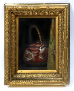 Antique American Impressionist Painting Teapot Framed Red, White, Gold Framed