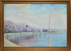 Antique American Impressionist Painting, Washington Monument with Cherry Blossom