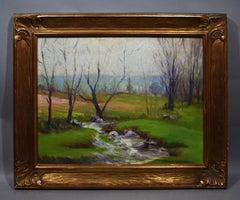 Antique American Impressionist Plein Air Summer Landscape Framed Oil Painting
