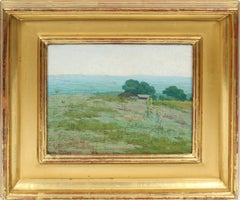Antique American Impressionist Plein Aire Seaside Landscape Signed Oil Painting