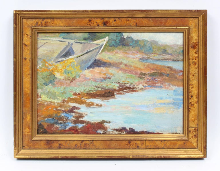 Antique American Impressionist Pleine Air Lake Sketch Summer Day Oil Painting - Brown Landscape Painting by Unknown