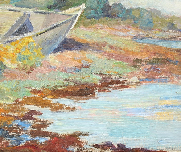 Antique American Impressionist Pleine Air Lake Sketch Summer Day Oil Painting For Sale 1