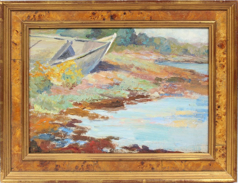 Unknown Landscape Painting - Antique American Impressionist Pleine Air Lake Sketch Summer Day Oil Painting