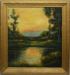 Antique American Impressionist School Sunset Landscape Oil Painting