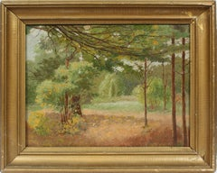 Antique American Impressionist Signed Forest Interior Landscape NY Oil Painting