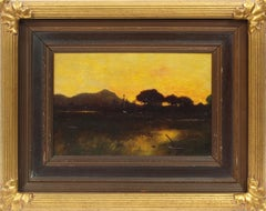 Antique American Impressionist Tuscan Arizona Sunset Landscape RARE Oil Painting