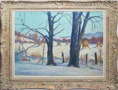 Antique American Impressionist Winter Landscape Painting, Wheeler West Virginia