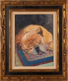 Antique American Modern Original Dog Portrait Oil Painting of Sleeping Bulldog