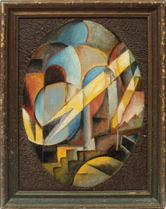 Antique American Modernist 1920s Cubist Cityscape Abstract Original Oil Painting