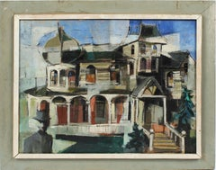 Antique American Modernist Abstract Cityscape Surreal Original Oil Painting