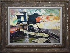 Antique American Modernist Architectural Abstract City View Signed Oil Painting