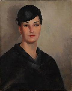 Antique American Modernist Art Deco Young Woman Original Portrait Oil Painting
