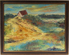 Antique American Modernist Beach Sunset Landscape Original Hampton Oil Painting