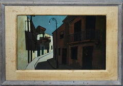 Antique American Modernist Cityscape Moody Street Scene Signed Oil Painting