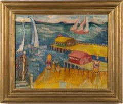 Antique American Modernist Dockside Harbor Folk Seascape Exhibited Oil Painting