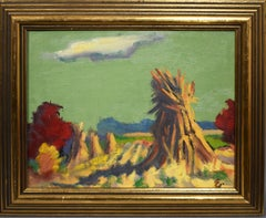 Antique American Modernist Fall Haystack Sunset Signed Landscape Oil Painting