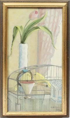 Antique American Modernist Flower and Bird Still Life Signed Original Painting