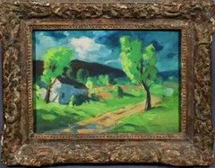 Antique American Modernist Landscape Luminous Sky Original 1920s Oil Painting
