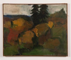 Antique American Modernist New England Coastal Pine Tree Landscape Oil Painting