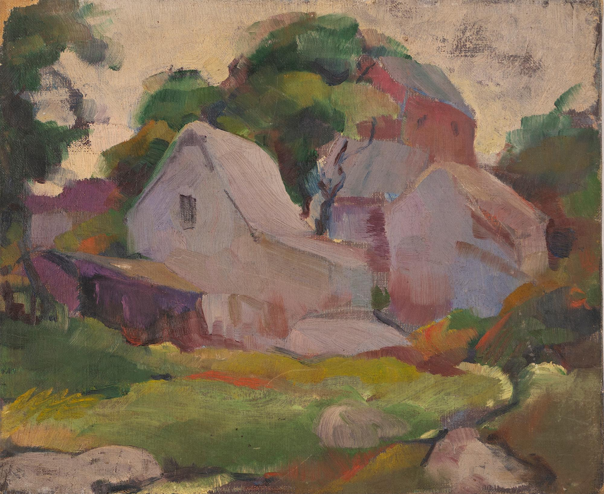 Antique American Modernist New England Fauvist Landscape Oil Painting