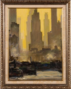 Antique American Modernist New York City Downtown Harbor Boat View Oil Painting