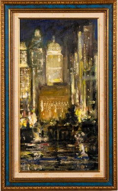 Antique American Modernist New York City Nocturnal Ashcan School Oil Painting