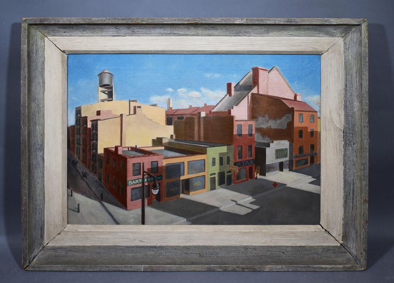 Antique American Modernist New York Cityscape Signed Precisionist Oil Painting - Gray Landscape Painting by Unknown