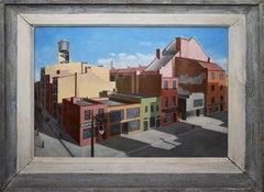 Antique American Modernist New York Cityscape Signed Precisionist Oil Painting