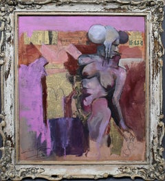 Antique American Modernist Nude Woman Abstract Expressionist Rare Oil Painting