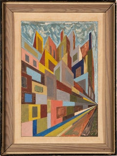 Antique American Modernist Surreal Cityscape Vintage Original Oil Painting