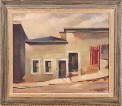 Antique American Modernist Surreal Street Scene Unsigned Framed Oil Painting
