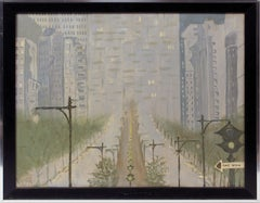 Antique American Modernist View of New York Cityscape Park Avenue Oil Painting