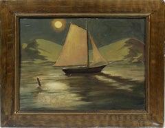Antique American Moonlit Modernist Arctic Alaskan Sailboat Seascape Oil Painting