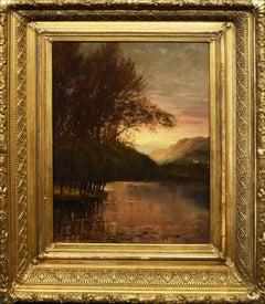 Antique American Museum Quality Luminous Hudson River School Sunset Landscape