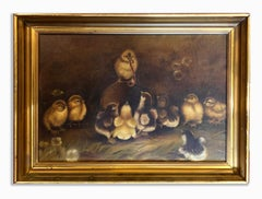 Antique American Oil Painting Chicks in a Barn Worm Charming Original Frame Rare