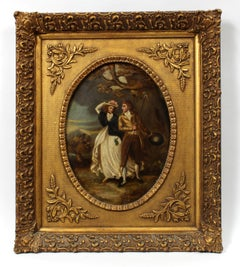 Antique American Oil Painting Framed Couple Landscape Period 19th Century