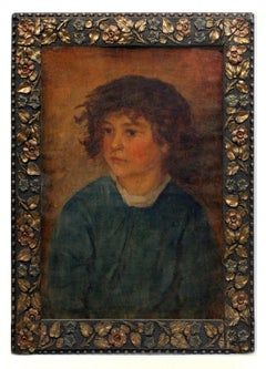 Antique American Oil Painting Portrait Young Boy Stunning Period Frame Charming