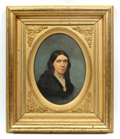 Antique American Oil Painting Portrait Young Woman Necklace Period Frame Rare
