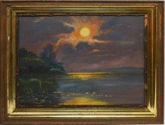 Antique American Oil Painting Southern School Tropical Sunset Landscape