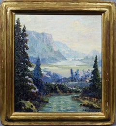 Antique American Oil Painting Western California Wilderness Landscape Painting
