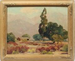 Antique American Original California Mountain Valley Landscape Oil Painting