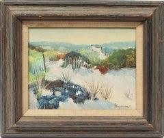 Antique American Original Impressionist Beach View Coastal Hamptons Oil Painting